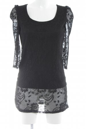 Vanilla Kanten blouse zwart bloemenprint romantische stijl