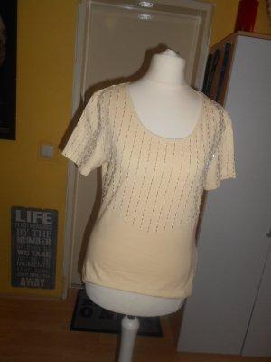 vanillegelbes festliches Damen T-Shirt Gr. M