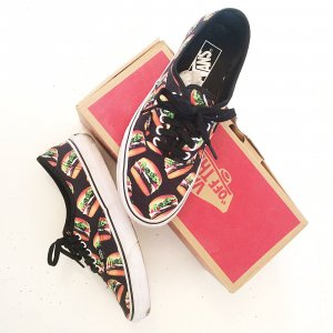 Vans Authentic Sneakers Schwarz Hamburgers 40,5 UK 7 Turnschuhe Special Edition bunt Black