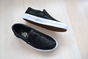 Vans Schuhe Slip on Slipper Schwarz Leder Reptil Schimmer Muster Sneakers 39