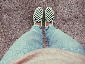 VANS Slip On karo kariert / black & white / Rockabilly Hipster * 40