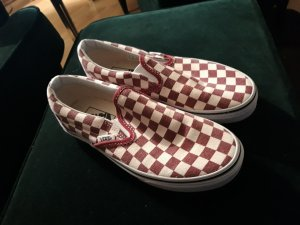 Vans Basket slip-on blanc-bordeau