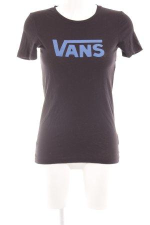Vans T-Shirt schwarz-neonblau Schriftzug gedruckt Casual-Look
