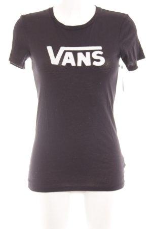 Vans T-Shirt schwarz-weiß Schriftzug gedruckt Casual-Look