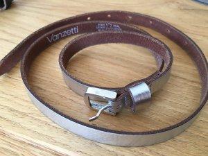 Vanzetti Cinturón de cuero color plata