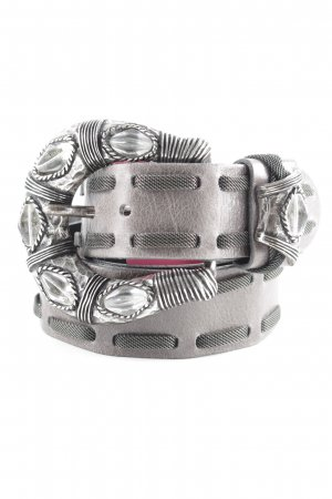 Vanzetti Leather Belt grey-silver-colored extravagant style