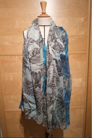 Vanzetti Tuch Schal blau Federprint neu Halstuch