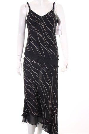Vassa Kostüm schwarz-hellbeige Streifenmuster Beach-Look