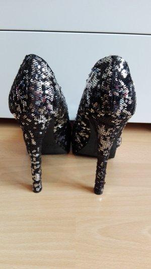 VB H&M Party High Heels in 38 mit Pailletten in schwarz silber Fiesta Glitter