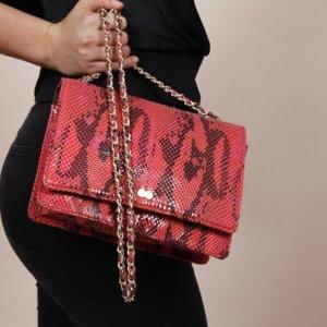 Vegan AURELIE Luxury Snake Print Rot Schlangenoptik Tasche Handtasche OONA