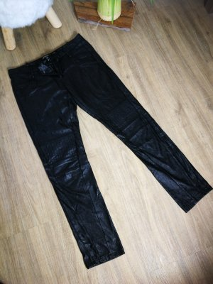 Low-Rise Trousers black imitation leather