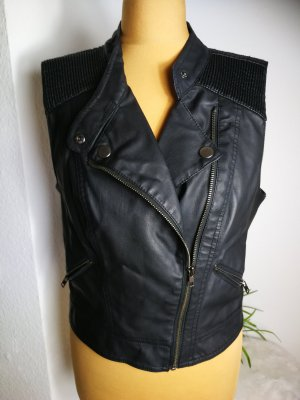 Mango Leather Vest black