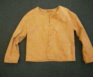 Velour Lederjacke Gr. 38 in orange/camel