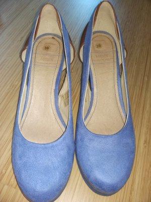 Velourleder Damen Pumps/ Wedge, blau, Gr. 39 Neuwertig