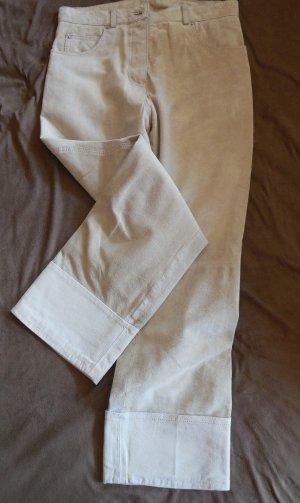 Velourleder Hose 7/8 mit Aufschlag G.M oder Gr.38  in Leder helles beige sand creme