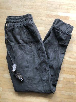 Leren broek grijs-bruin Suede