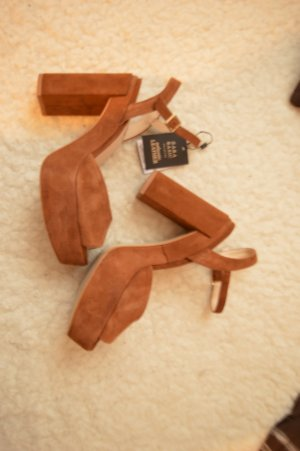 Zara Platform High-Heeled Sandal brown-light brown suede