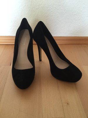Velourleder-Pumps schwarz, 37