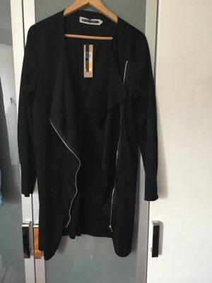 Velours (Wildleder-Optik) Jacke, schwarz