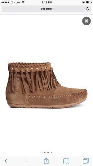 Veloursleder Boots / Mokassin braun Gold