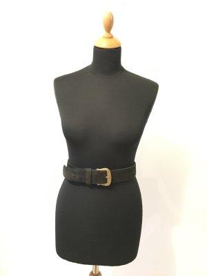 Veloursleder Leder Imitat schwarz matt Gold mattglänzend Schnalle edel Taille und Hüft Gürtel