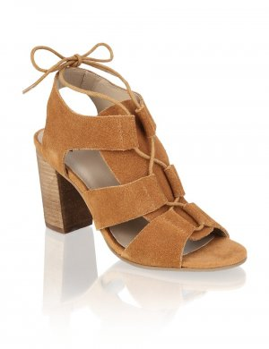 High-Heeled Sandals multicolored suede