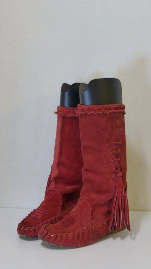 Slip-on Booties brick red suede