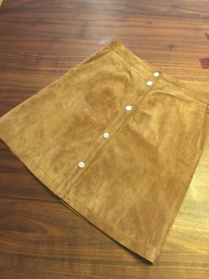 Orsay Leather Skirt cognac-coloured-silver-colored