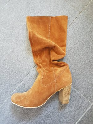 Wide Calf Boots cognac-coloured suede
