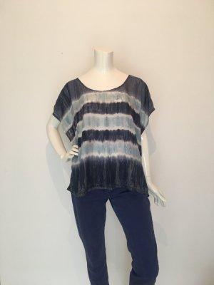 Velvet Batik blau weiß hellblau Shirt Bluse Baumwolle Seide Sommer weit locker lässig Festival onesize unisize