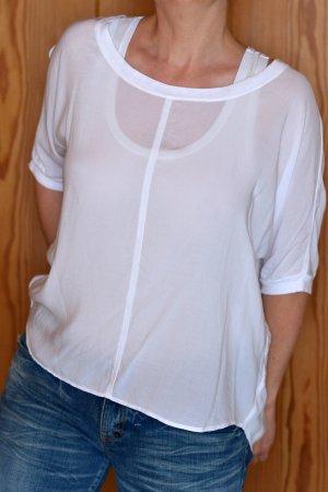 VELVET by Graham & Spencer Shirt XS S weiß Rayon off-shoulder Etikett