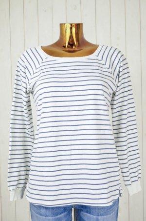 VELVET Damen Shirt Weiß Blau Gestreift Baumwolle Elastan Vintage Look Gr.M