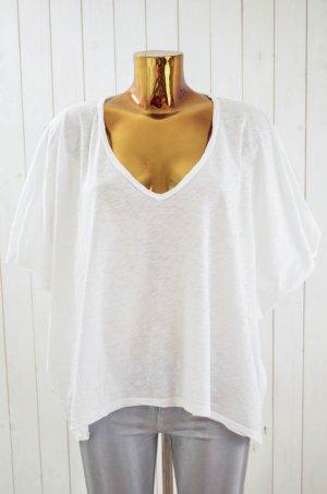 VELVET Damen Shirt Weiß V-Ausschnitt Oversized 3/4-Arm Weiß Baumwolle Gr.S
