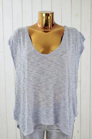 VELVET Damen T-Shirt Rundhals Blau Weiß Kurzarm Geringelt Streifen Viskose Gr. M