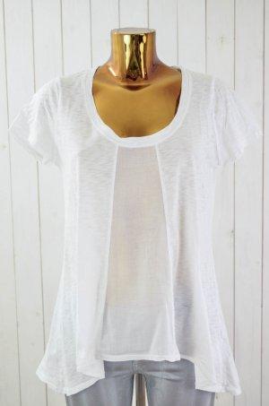 VELVET Damen T-Shirt Weiß U-Ausschnitt Oversized Kurzarm Weiß Baumwolle Gr.S