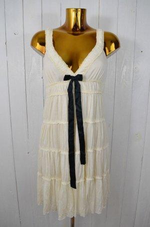 VELVET Kleid Hängerchen Trägerkleid Ecru Schwarz Schleife Jersey Rüschen Lagen S