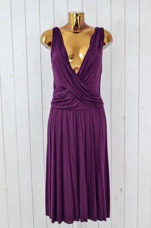 VELVET Kleid Jersey-Kleid Gerafft Schwingend Lila Viskose V-Ausschnitt Gr.L