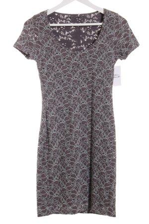 Velvet Kurzarmkleid graubraun-graugrün florales Muster Casual-Look