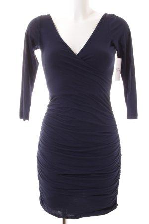 Velvet Langarmkleid dunkelblau Elegant
