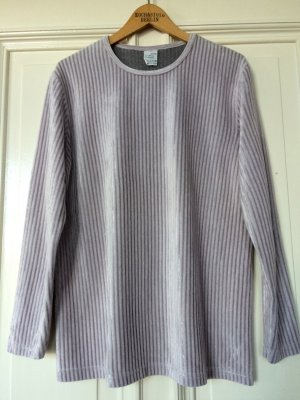 Velvet Samt Top langarm Shirt Puderrosa Grau Ripped Rippenstruktur Trend