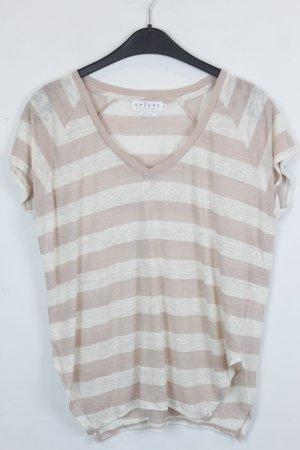 Velvet by Graham & Spencer T-shirt rayé blanc-vieux rose lin
