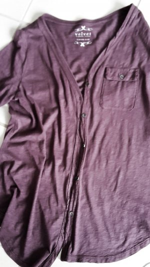 VELVET Shirtjacke Blusenshirt Longshirt * TOP * NP 149,- * Taupe-Violett *