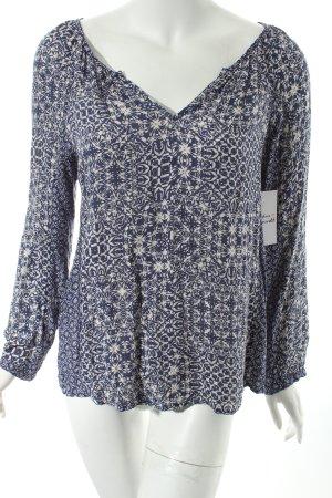Velvet Shirttunika blau-creme Ornamentenmuster Casual-Look