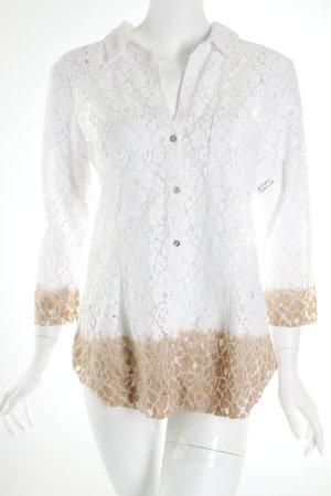Velvet Spitzenbluse weiß-beige Colourblocking Nude-Look