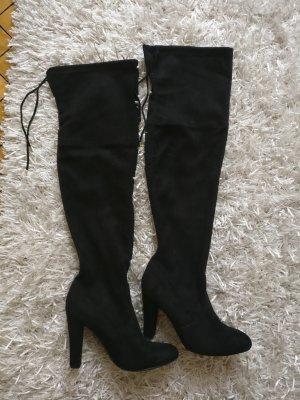 Velvet Suede Rauleder Overknee Stiefel