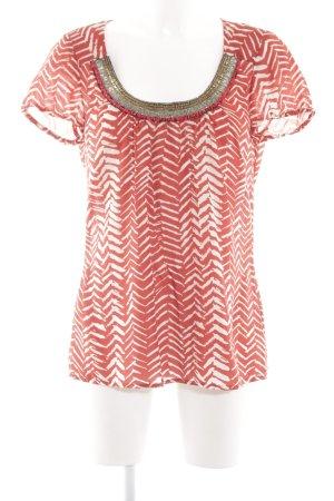 Velvet T-Shirt rot-weiß Allover-Druck Casual-Look