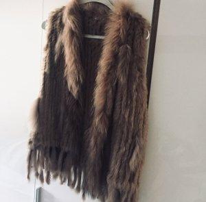 Manteau de fourrure marron clair-brun