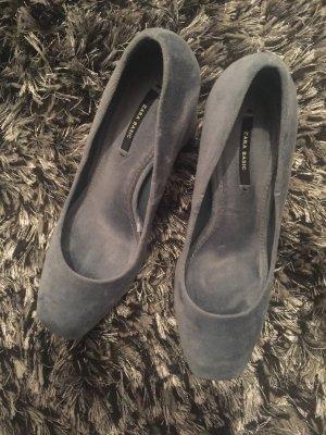 Zara Basic Chaussure à talons carrés bleu azur