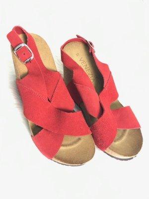 Venezia Clog Sandals red leather