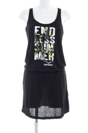 Venice beach Jerseykleid schwarz Schriftzug gedruckt Beach-Look